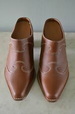 Brown Leather Cowboy Boot Clogs Size 9 Western shoes