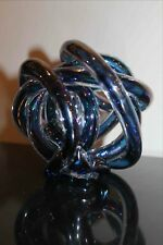 "Art Glass Knotted Ball - Tubular Cased Blue Glass Formed into a Ball, 4.5"" Dia."