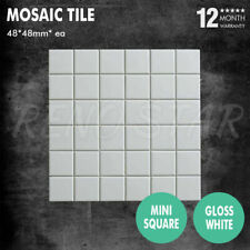 48*48mm Mosaic Tile Gloss White Porcelain 6mm Square 1 SQM for Floor Wall