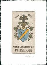 Armin Wilhelm Ludwig Friedmann. Irma Zeitner  Bookplate QC.709