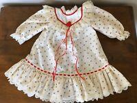 VTG Doll Dress Ivory Cotton Green Red Floral Prairie Ruffled Hem Eyelet Lace