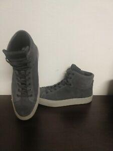 Men's All Saints Grey Gray Lace Up High Top Sneakers Shoes Sz 9 Eu 42