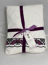 Pottery Barn Pb Teen Anna Sui Butterfly Sheet Set Full Ivory Purple 2 Std Cases