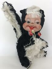 Vintage Rushton Skunk Plush Rubber Plastic Face Toy Stuffed Animal 8""