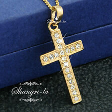18K 18CT Yellow GOLD GF Classic Cross Pendant NECKLACE lab CRYSTAL ES544