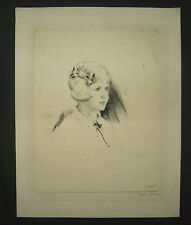 Diana Thorne Rare 1930s Etching of Young Girl Listed Artist & Illustrator
