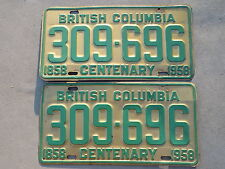 1958 British Columbia  Canada Pair of License Plates 1858 Centenary 309-696