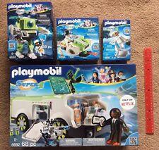 PLAYMOBIL Super 4 Techno Chameleon W/ Gene, Cleano Robot, Dr. X Skyjet 4 Lot NEW
