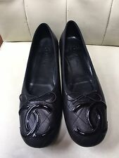 Chanel Cambon CC Quilted Black Leather Ballet Bow Flats Size 42