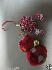 handmade Maneki Neko Lucky Cat plush Phone Strap/key/bag charm hb us un76