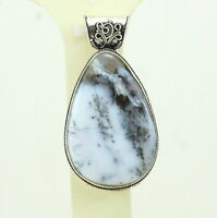 Pendant natural dendrite white agate gemstone handmade jewelry 23 grams
