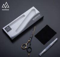 "Montevr 5.5"" Black/Gold Professional Barber/Haidressing Scissors RRP £195.00"