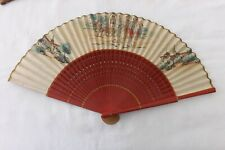 VINTAGE FRENCH HAND HELD FAN PAINTED WOOD/SILK CONSTRUCTION (FS77)
