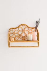 Handmade Natural Rattan Shelf Unit for Bathroom, Bedroom etc with Flower Design