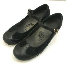 MERRELL Womens 10 Shoes Plaza MJ Mary Jane Buckled Black Leather Suede