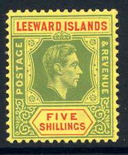 LEEWARD ISLANDS 1938-51 KGVI DEFINITIVE 5/- FIRST PRINTING FINE UNMOUNTED MINT