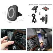 Qi Car Air Vent Mount Holder Magnetic Wireless Phone Charger Charging Pad -Black