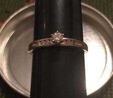 14K White Gold Diamond With Accents Solitaire Engagement Ring Beautiful Sizable