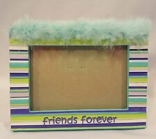 Malden Friends Forever Photo FRAME 4X6 Picture EUC Blue Purple Green & Feathers