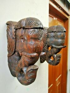 Elephant Bracket Corbel Pair Statue Wooden Handmade Wall Shelf Home Decor UNIQUE