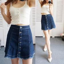 Womens Stretch Denim Shots High Waisted Tassel Fringe Bodycon Frayed Mini Skirt