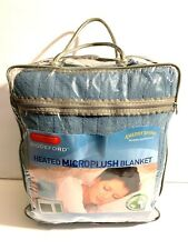New Biddeford Blanket Full Standard Comfort MicroPlush Heated Blanket Blue $119
