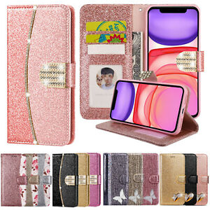 Glint Leather Flip Wallet Case Cover For iPhone 12 11 Pro Max XR XS X 7 8 6 Plus