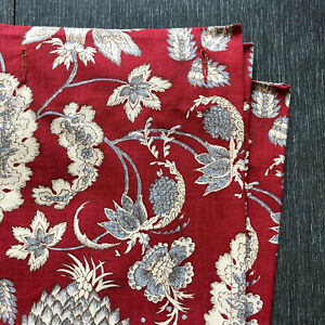 "Pottery Barn Linen Shower Curtain Margaret Palampore Red Grey Linen Blend 72"" Sq"