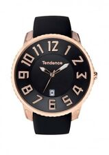 Black & Rose Gold Slim Classic 3H Watch by Tendence