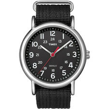 Timex T2N647 Weekender Slip-Thru Watch Black Water Resistant Indiglo Night Light