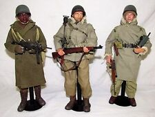 Lot (3) Dragon DiD 1/6 WWII US American Soldiers Figures w/ Gear & Stands FC36