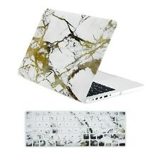 """Marble White/Gold Case + Keyboard Cover for Macbook Pro 13"""" w.Retina A1425/A1502"""