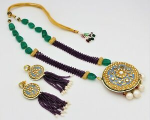 Indian Bollywood Style Bridal Party Kundan Wedding Necklace Earrings Jewelry Set