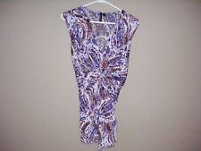 Essentials By Milano Womens Size L Multi-Color Paisley Stretch Sleeveless Top