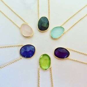 18K Gold on Sterling Silver Necklace Oval Disc Gemstone Natural Stone Vermeil