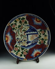 Chinese Antique Famille Rose Porcelain Plate with Pavilion