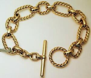 David Yurman 18k Gold Cushion Cable Link Bracelet w/ Diamond Toggle Bar NWT