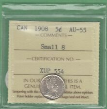 1908 Canada 5 Cents Silver Coin - Small 8 - ICCS Graded AU-55