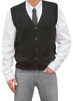 TINKUY PERU 100% Alpaca Mens V-Neck Cable Knit Sweater Black Button Up Vest