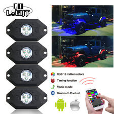 4x Wireless Mini Bluetooth LED RGB Rock Lights Under Wheel Off-roads Truck Jeep