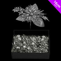 6 x Christmas Silver Glitter Poinsettia Picks Decoration Tree Wreath decoration