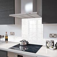 Premier Range White Cosmos Glass Splashback - 100cm Wide x 75cm High