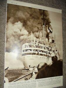 Photo article British troop ship HMT Empire Windrush on fire Algiers 1954 AK