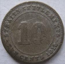 Straits Settlements 10 cents 1918 coin (B)