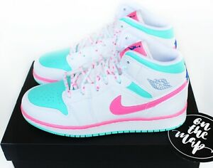Nike Air Jordan 1 Retro Mid Digital Pink Aurora Green Miami GS UK 5 6 7 US New