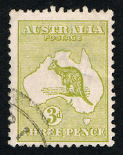 Aus Scott 47 Roo and Map Olive 3 Pence = USED VF NH