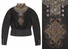 Vtg Davis & Kishlar c.1800's Victorian Black Silk Embroidered Long Sleeve Blouse