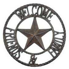 Cast Iron Welcome Friends Family Sign Rustic Barn Western Wall Decor Texas Star
