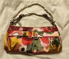 Guess Vintage Satin Handbag Clutch Pink Green Yellow Flower Strap Chain Dust