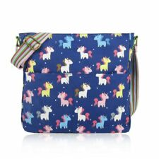 Canvas Cross Body Bag in Unicorn Pattern. Large Everyday School Cotton Handbag